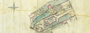 Scale plan of the 1818 chapel showing location of school rooms and graveyard