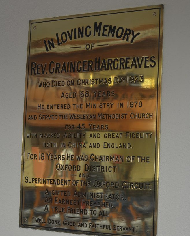 Brass memorial plaque to Rev Grainger Hargreaves | WMC