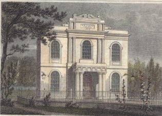 1818 chapel with arches windows and pillared portico
