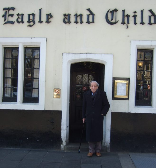 John Walsh stands outside the Eagle and Child pub where the Inklings met.