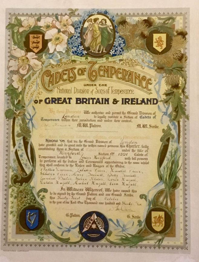 Cadets of Temperance certificate