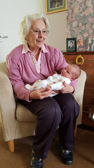 Beryl with her great-grandson