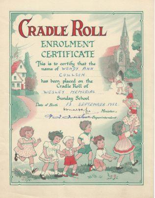 Cradle roll certificate