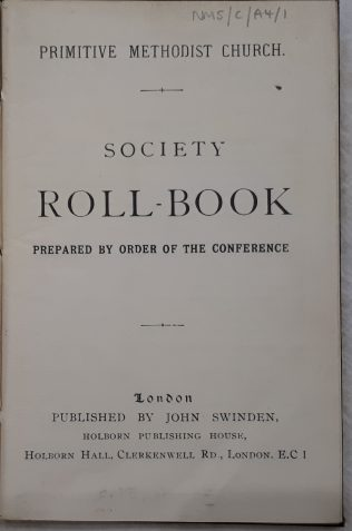 Primitive Methodist Society Roll Book 1932