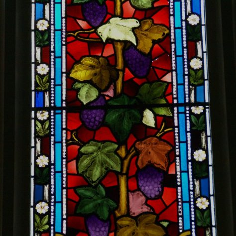 Stained glass depicting fruiting grape vine