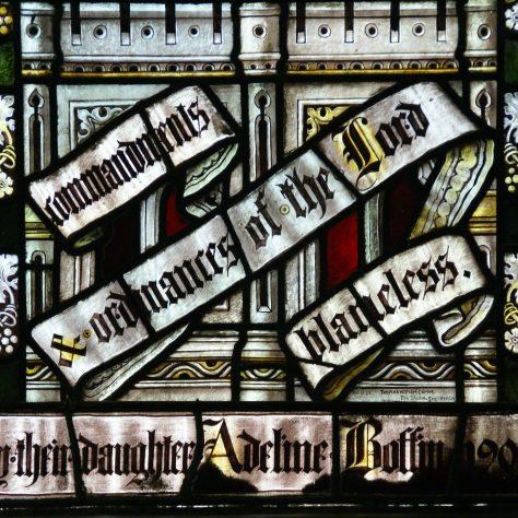 Zechariah and Elizabeth window - detail of dedication | WMC
