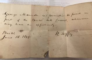 Original note to preach, signed by Richard Treffry in 1833.