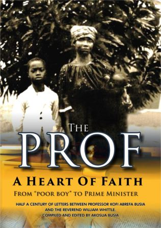 Book cover featuring Kofi standing by his mother, holding an infant, one of Busia's younger brothers. The picture was taken, by Rev Whittle, the day Busia was to take his Mfanstsipim school entrance exam. His first white suit was home made for the occasion. | Busia Family